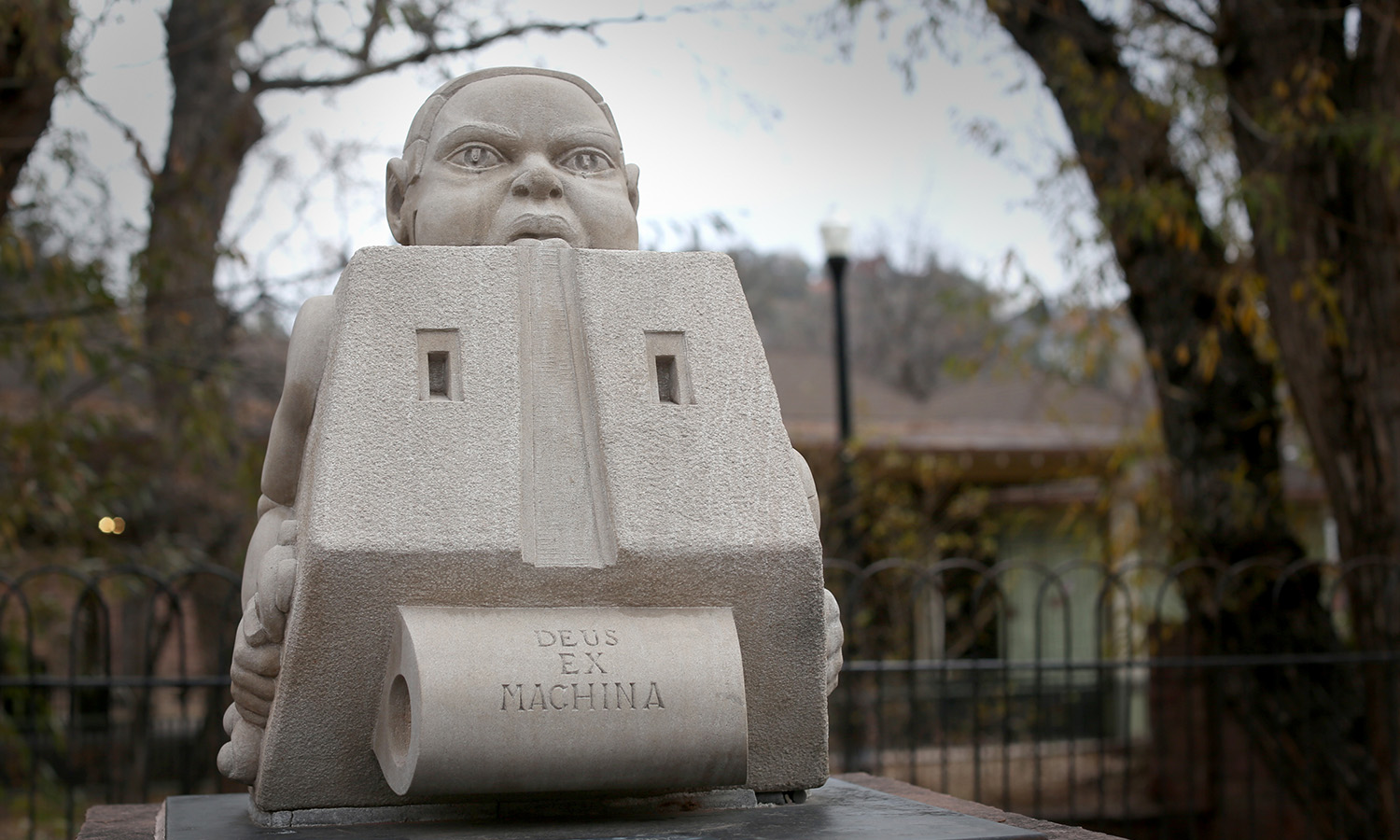 """Portable Deity"" sculpture by Larry Terrafranca, in Manitou Springs, CO 