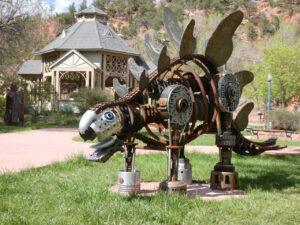 Johnny Stegosaurus, sculpture by Paul Brandt Lippart | Manitou Springs Arts Council